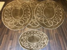 ROMANY WASHABLES OVAL DESIGNS SETS OF 4 MATS XLARGE SIZE 100X140CM LIGHT BROWN